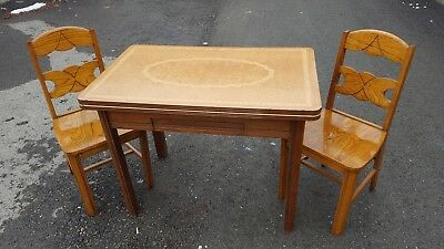 Rare Antique kitchen table, wood with Porcelain Enamel top All Original finish