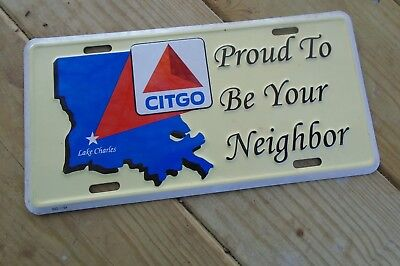 CITGO advertising License Plate, LAKE CHARLES, LA, Proud To Be Your Neighbor