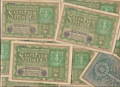 Rare 100 Years Old Germany Post WWI War Berlin 50 Mark Note Dollar 10 Collection