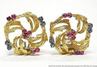 Natural Ruby Sapphire 18k Gold Earrings Vintage Italian Mid Century Omega Clips
