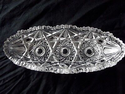 OVAL RELISH CELERY DISH oblong bowl American Brilliant ABP cut Glass crystal