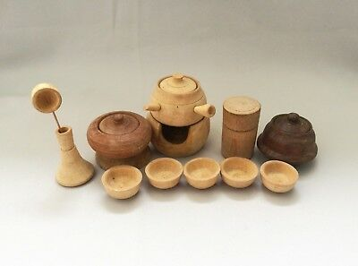 Vintage Miniature Japanese Tea Party Set Pot Cup Wooden Carved Toy Handmade