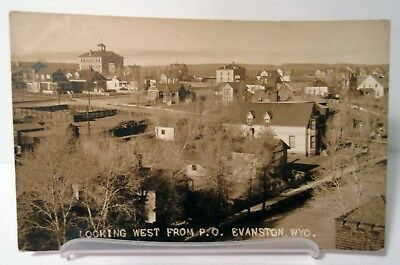 Evanston Wyoming WY Town View Birdseye Real Photo Postcard Photograph Antique RP