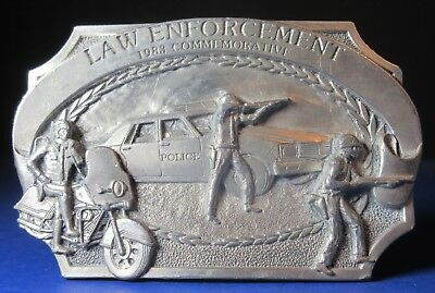 Law Enforcement Belt Buckle 1983 Limited Edition Numbered Police Motorcycle Cop