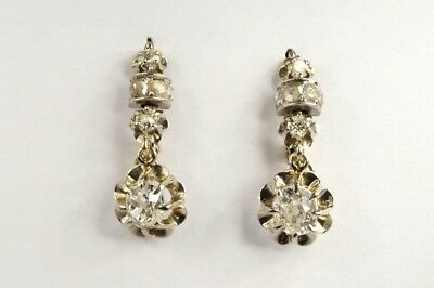 Elegant Antique French 18K White Gold Old & Rose Cut Diamond Drop Earrings