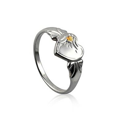 Sterling Silver 925 November Birthstone Heart Signet Ring with Yellow Topaz CZ