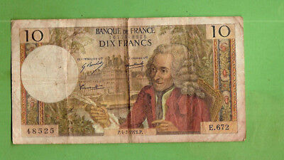 #D360, 1963-73  Type  Circulated France  10 Francs  Banknote   - Voltaire Design