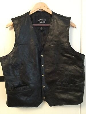 Italian Stone Design Genuine Leather Vest Navarre Leather Co Men's Size 2X Black