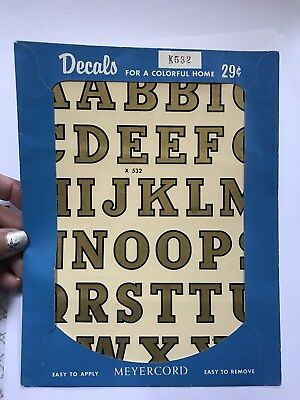 VTG Decals Letters Alphabet Mid Century NOS Sealed Meyercord Gold brass