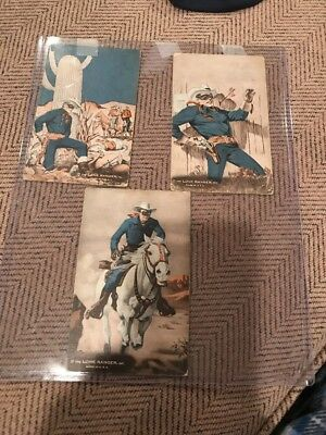 Vintage Lot Of Three 3 THE LONE RANGER Arcade Cards