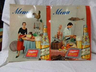 """1950's Miller Beer Glossy Full Color Menu Cover, Bottle/Food, 8.5x11"""", Ex Cond"""