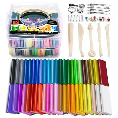 46 Blocks Colored Modeling Clay DIY Soft Craft Clay Set with Modeling Tools and
