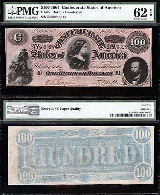 Nice UNCIRCULATED 1864 CT-65 $100 Havana Counterfeit CSA Confederate! PMG 62 EPQ