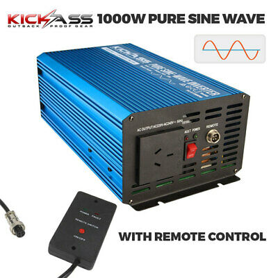 KICKASS 1000W Pure Sine Wave Power Inverter 12V to 240V AC Caravan Camping