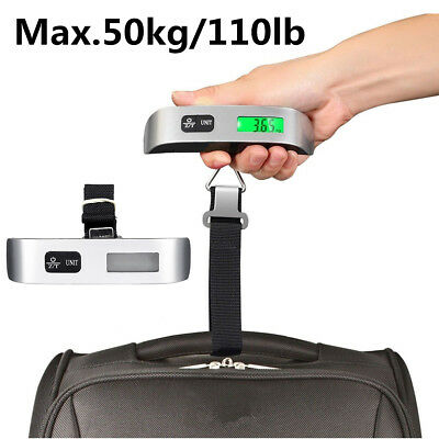 Portable Digital Luggage Scale LCD Display Travel Hook Hanging Weight 110lb/ 50kg
