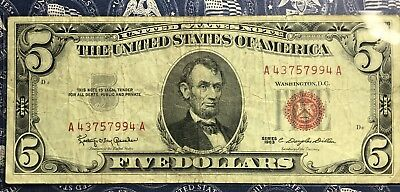 1963 $5 Dollar Bill Old Us Paper Money Currency Red Seal Collector Note.7994A