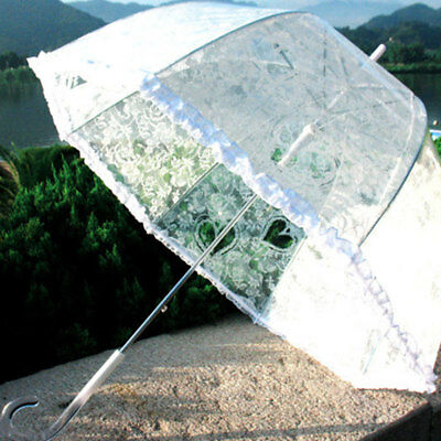 C3E6 Lace Umbrella Princess Transparent Dome Frilly Weeding Decoration Parasols