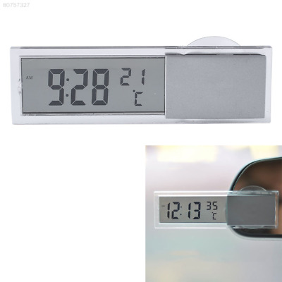 A486 2 in 1 Digital LCD Clock Thermometer Suction Cup Car Interior Accessories