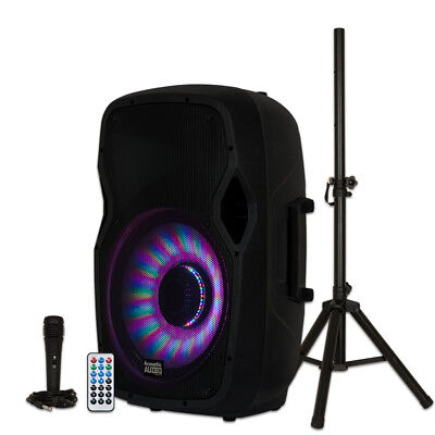 "Acoustic Audio AA15LBS Powered 1000W 15"" Bluetooth LED Speaker with Mic & Stand"