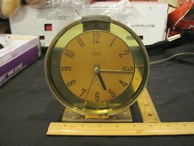 VTG Art Deco Westclox Oracle Electric Analog Clock Round Amber Glass Works Well