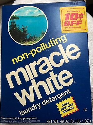 Vintage 1974 MIRACLE WHITE Laundry Detergent 49 oz.