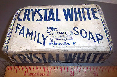 Vintage CRYSTAL White Laundry Soap Bar, family soap, great colors & graphics