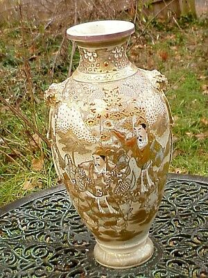 "Antique Japan Meiji Era Satsuma Kutani 15""H BALUSTER FORM VASE Samurai Warriors"
