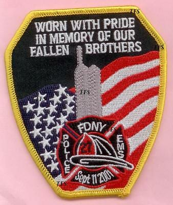 New York City Fire Dept WTC Worn With Pride Patch 9-11 In Memory of Fallen Bros