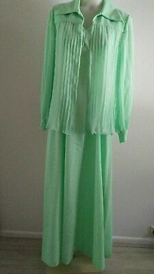 VINTAGE MINT GREEN 60s 70s LONG DRESS WITH OVER JACKET SIZE 14