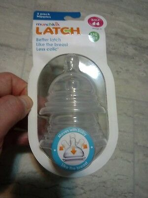 NEW Munchkin Latch Stage 2 Nipple, 3 + Months 2 Count BPA Free Anti Colic