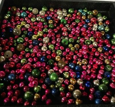 Vintage 300+ Lot Loose Mercury Glass Christmas Beads for Garland or Icicles #26