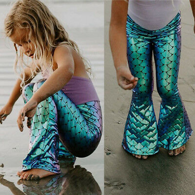 US Kids Girls Shiny Mermaid Leggings Metallic Fish Scale Pants Fancy Dress Party