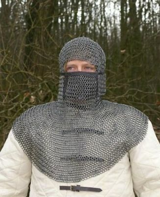 New Head Model Medieval Hood,Oil Finish chainmail coif with adjustable mask nbvb
