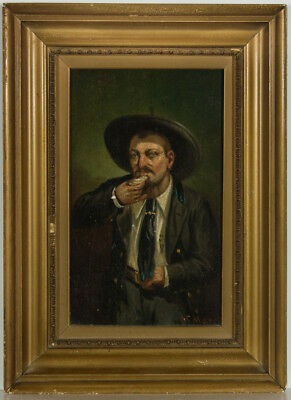 Framed 20th Century Oil - Portrait of a Gentleman, Oyster Eater