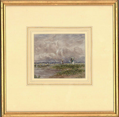 Framed Late 19th Century Watercolour - River Study