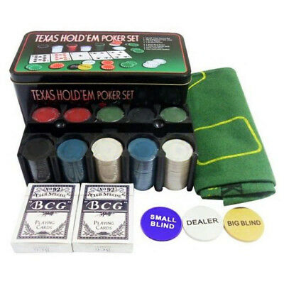Poker Set And Chips In Tin Box Set Texas Holdem Card Game Party 200 Pieces