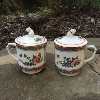 PAIR Chinese Asian Famille Rose Export Tea Cup Mug Coffee Foo Dog Lids Min Shou