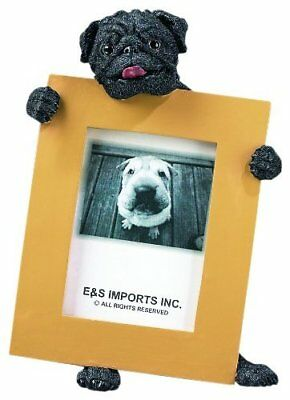 "Pug Black Dog Photo Picture Frame Gift Resin 2-1/2""x3-1/2"""