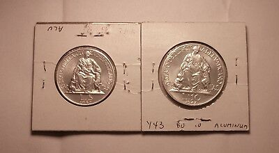 1947 Vatican 10  & 5 Lire Two Coin Set Pope Pius X11 scarse date BU uncirculated