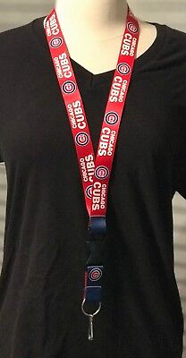 "Chicago Cubs Lanyard Detachable Buckle Key ring/clip Reversible Blue Red 24"" NEW"
