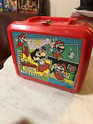 1988 Super Mario Bros Nintendo Vintage Red Lunch Box by Aladdin! With Thermos
