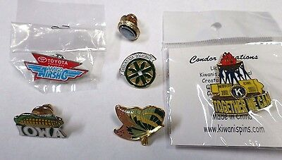 Lot of 6 Lapel Pins--AirSho Kiwanis Hospice Iowa Butterfly--Marcasite Tie Tack