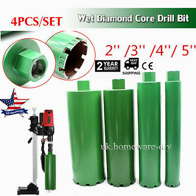 4pcs/set Wet Diamond Core Drill Bit 2''/3'' /4''/ 5'' fit Concrete Premium Green
