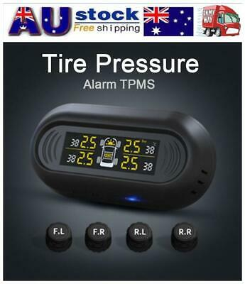 Car Wireless Solar Power TPMS Tire Tyre Pressure Monitoring System + 4 Sensors