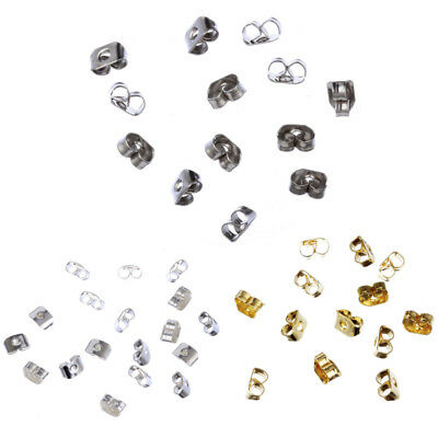 300Pcs 5mm 3 colours Earring Stud Backs Butterfly Stoppers Jewelry Findings