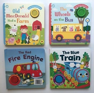 Macdonald Blue Train Fire Engine Wheels Set Of 4 Sound Books Ages 0 Months+ Year