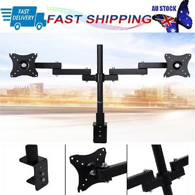 Dual HD LED Desk Monitor Stand Mount Bracket 2 Arms Holds Two LCD TV Screen HOT