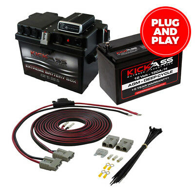 KICKASS 12V 120AH Complete Dual Battery System Battery Box & Wiring Kit Included