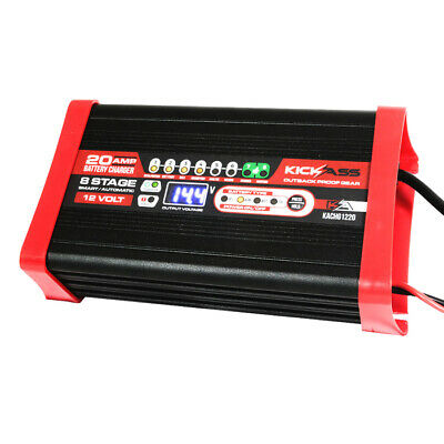 KICKASS 12V 20 Amp Automatic Smart Battery Charger 8 Stage Trickle Maintenance