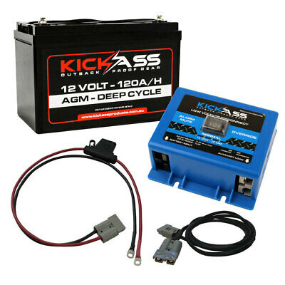 KICKASS 12V 120AH Deep Cycle AGM Battery Low Voltage Disconnect LVD Inline Fuse